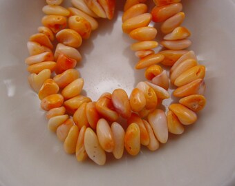 Orange Spiney Oyster Shell Beads. Natural Color, No Dyes Added. Baja, Mexico. #8033