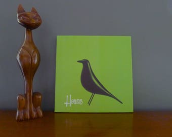 Eames House Bird Hand Stretched Canvas Print in Lime Green