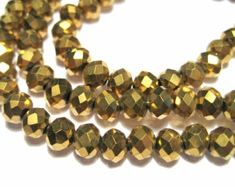 1 Strand Electroplate Gold Rondelle Faceted Glass Beads 6x4mm