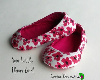 Soft Sole Flat Floral Shoes for Little Girls - Custom Shoes for Kids with Leather or Rubber Sole, Flower Girl Shoes for Toddlers and Babies