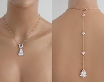 Rose gold Backdrop necklace, Wedding jewelry, Bridal necklace, Crystal Back necklace, Crystal necklace, Swarovski necklace, Vintage style