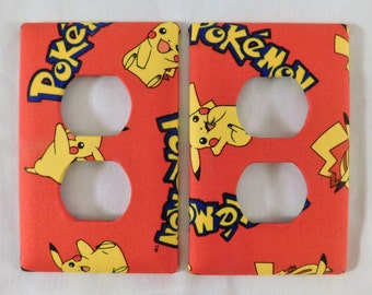 Pokemon Light Switch Plate Outlet Plug Cover Custom Red Yellow Blue Rocker Cable Protective Plug Inserts