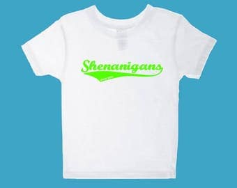 St Patrick's Day shirt for Toddlers and Babies.  Shenanigans Shirt for Toddlers and Babies.  Personalized St Patrick's Day shirt.