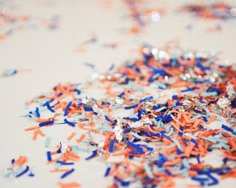 Navy Orange Silver Confetti, Woodland Fox Party, Fox Theme Birthday, Fox Baby Shower, Navy Baby Shower, Kids Party Confetti, Paper Confetti