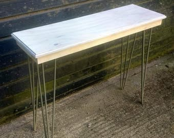 Spruce Plywood Console Table on Hairpin Legs