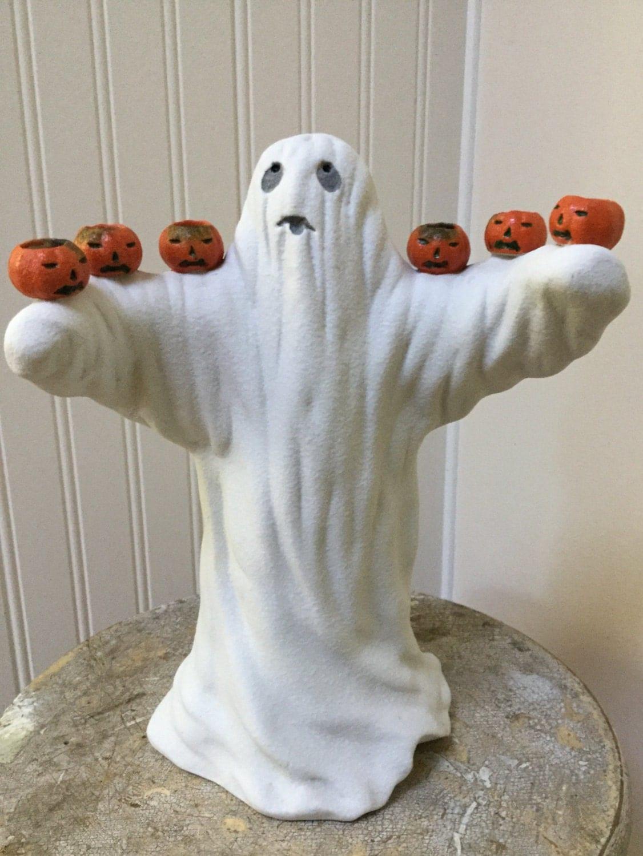 Vintage Halloween Ghost W Pumpkins Ceramic Candle