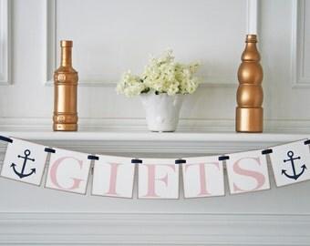 Nautical Wedding Decoration - Gifts Banner - Wedding Sign - Navy & Blush Wedding Banner - Custom Colors - Anchor Theme - Wedding Reception