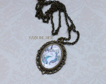 Cabochon Rainbow Unicorn necklace