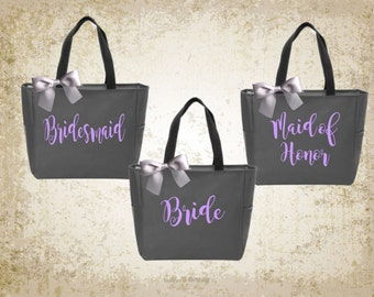 bridal totes, monogrammed totes, personalized tote, bridesmaid tote,
