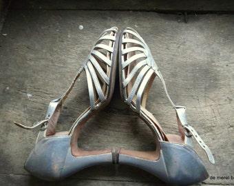 vintage anique silver tone dance shoes