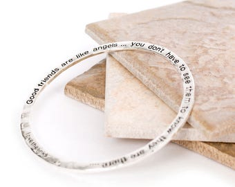 Angels Hammered Bangle-Message Jewellery-Fashion Jewellery-Faith-Love