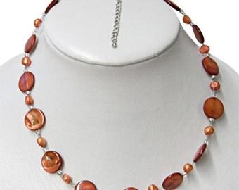 Women's Necklace of beads and shells - reddish tones (KK-04)