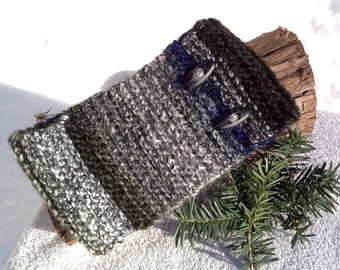 Black and white tweed headband, dark green and blue highlights, oval button trim, medium wide size, soft and warm ear warmer