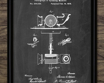 Edison Speaking Phonograph Patent Print - 1878 Phonograph Design - Thomas Edison Phonograph Invention - Single Print #2260 -INSTANT DOWNLOAD