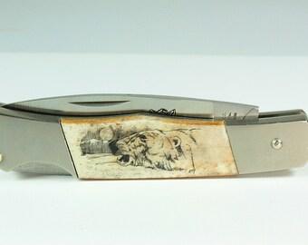 Vintage Parker Cut Co. Wolf Head Lockback Knife NR, Surgical Steel Pocket Knife, Vintage Pocket Knife,Bone Pocket Knife,Antique Pocket Knife