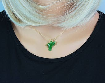 Jade jewelry,Green Jade necklace,Bird,Bird Lovers,Jade Necklace,Green Jade,Jade,green Necklace,Hummingbird,Natural Bird,Bird Necklace, Jade