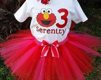 Personalized Elmo outfit, personalized birthday girl shirt, personalized birthday shirt, Elmo shirt, Elmo birthday outfit, Elmo party, Elmo