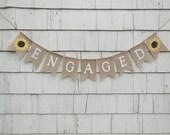 Sunflower Engagement Banner, Sunflower Bridal Shower, Engaged Garland, Engaged Bunting, Burlap Banner, Sunflower Wedding Sign, Engaged Sign