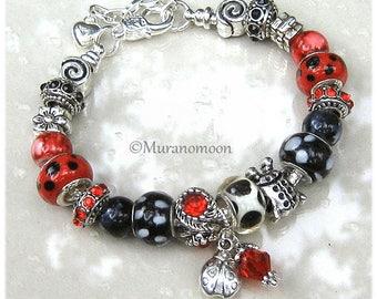 Ladybug European Charm Bracelet For Women Red Black Glass Bead Ladybug Ladybird Charm Beaded Lampwork Bracelet Ladybug Gift For #EB1575