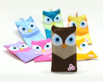 NEW owl phone case felt cover, handmade felt wallet phone case, iPhone cover, sleeve, ALL MODELS, made to order.