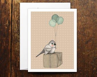 Happy Bird Day card illustration