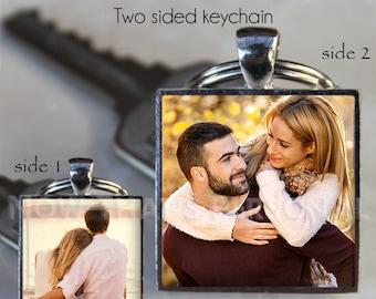PHOTO KEYCHAIN - Custom Photo Keychain - Picture Keychain - 2 photo Keychain - Personalized keychain, Photo Jewelry , keepsake , photo gift