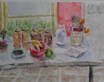 Watercolor, still life, original painting