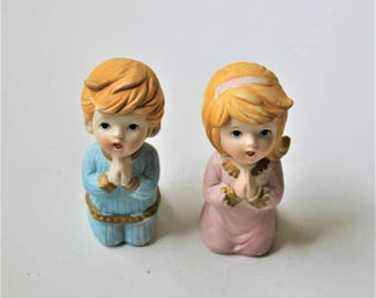 Vintage Homco praying boy and girl, praying children figurines, child's room décor, baby shower décor