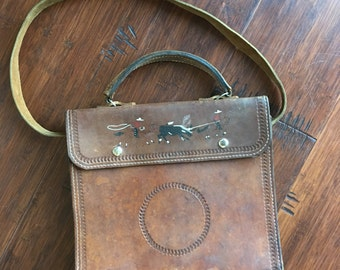 Rodeo Tooled Leather Messenger Tote Bag