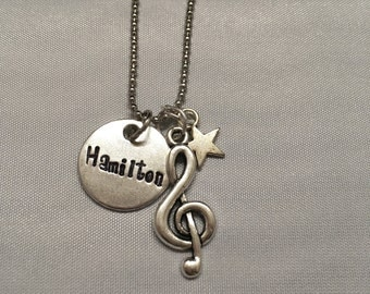 Hamilton Musical Broadway Star Handstamped Necklace - Hamilton Necklace Rise Up
