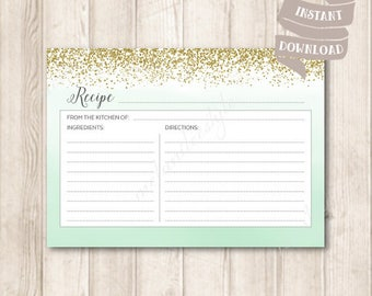 Mint and Gold Recipe Cards, Mint Green Ombre Watercolor, Gold Glitter Confetti Bridal Shower Printable, INSTANT DOWNLOAD