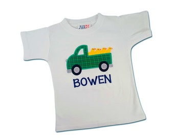 Boy's Easter Truck Shirt with Chicks and Embroidered Name