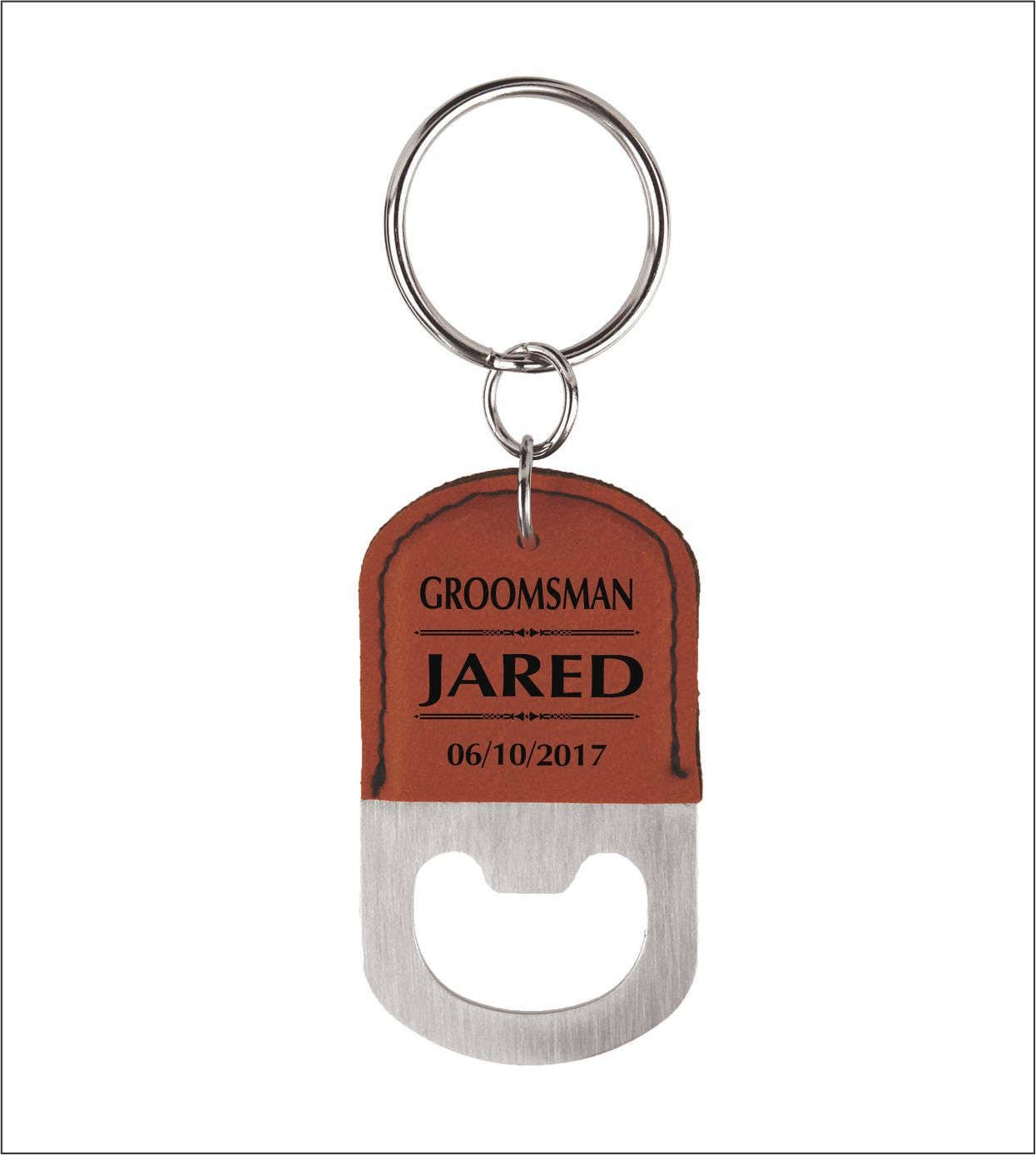 4 (FOUR) GROOMSMEN Custom Bottle Opener Keychains, 4-Set Keyrings ...