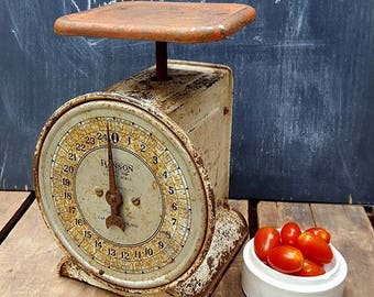 Vintage Hanson Kitchen Scale, Red And White Model 2000 Utility Scale
