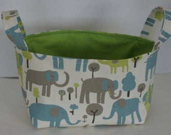 Fabric bin, fabric basket, easter basket, storage basket, elephant decor, toy storage, diaper caddy, gift basket, baby shower gift
