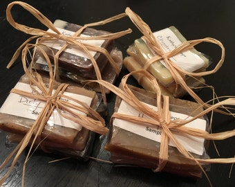 Sample Pack - any bar soaps: your choice of 3 sample bars, all natural handmade glycerin lye soap, travel soap, camp soap
