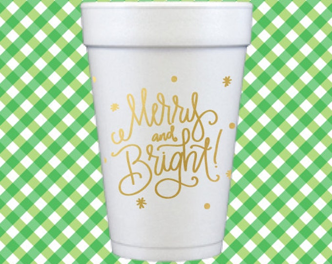 Christmas Foam Cups (Qty 12) - Merry and Bright!