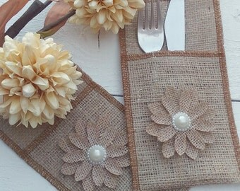 Burlap Cutlery Holder -  Burlap Silverware Sleeve - Burlap Cutlery Pocket - Wedding Table Decor - Flatware Holder - Qty 28