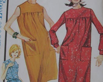 ADVANCE SEW EASY Pattern Beginners Pattern Mid Century 1960s Yoke Shift Dress  Junior and Misses Size 12- Zipper-Sleeveless or Long Sleeve