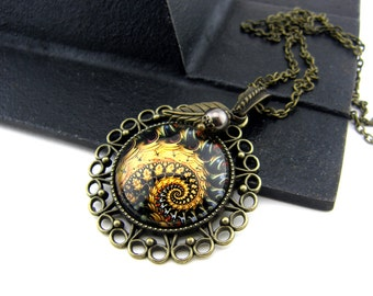 Fractal Necklace, Vintage Style Necklace, Bronze, Sacred Geometry Jewelry, Fibonacci Necklace, Spiral, Swirl, Gold, Multicolored, Antiqued