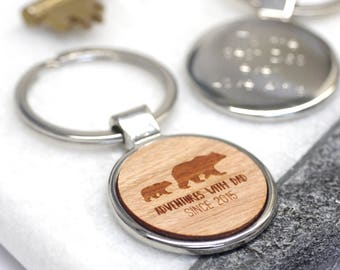 Personalized Dad Keyring, Wooden Key Chain, New Dad Gift, Bear Keyring, Personalised Adventures With Dad Key Ring