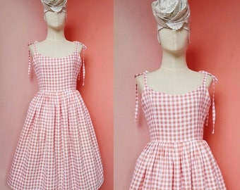 Plaid Dress Pin Up dress 50s Dress 1950s Dress Gingham Dress Tea Dress Casual Dress Summer Dress Womens Sundress Cotton Dress Pleated Dress