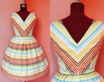 Striped Dress Pin Up Dress 1950s Dress 50s Dress Summer Dress Womens Sundress Day Dress Rainbow Dress Cotton Dress Pleated Dress Mini Dress
