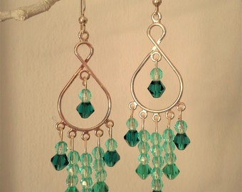 Dangle earrings, chandelier style, shades of green and aqua glass beads with silver tone wire, french hooks, elegant earrings,glittery jewls