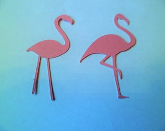 Silhouette Die Cut Flamingo's in Pearlised Pink x 16 (8 of each type)