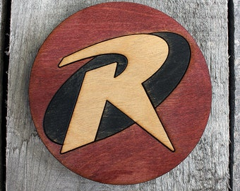Robin Wood Coaster | Rustic/Vintage | Hand Stained and Glued | Comic Book Gift | Batman