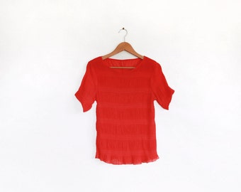 Rare vintage micro pleated red top