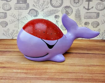 Purple Pirate Whale Piggy Bank, Whale Piggy Bank, Pirate Piggy Bank, Purple Piggy Bank, Piggy Bank, Baby Bank, Bank, Baby Shower Gift