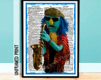 Gift for Him - Electric Mayhem Band - Muppet Fan Art - Zoot Muppet Dictionary Page Art - Music Teacher Gift under 25 - Collectable Keepsake