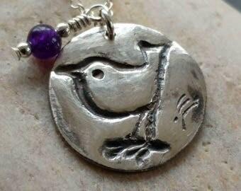 Little Wren Handmade fine silver pendant on sterling silver chain with semi precious stone charm, bird pendant, silver bird, silver wren